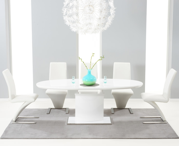 Mark Harris Seville White High Gloss Extending Dining Set - with 6 White Hereford Chairs