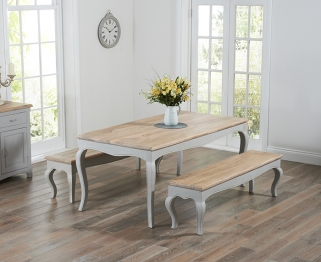 Mark Harris Sienna Oak and Grey 175cm Dining Set with 2 Benches