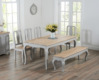Mark Harris Sienna Oak and Grey 175cm Dining Table with 4 Chairs and Bench