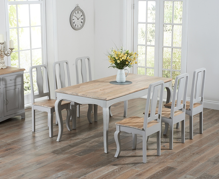 Mark Harris Sienna Oak and Grey 175cm Dining Set with 6 Dining Chairs