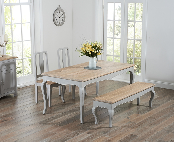 Mark Harris Sienna Oak and Grey Dining Set - 175cm Rectangular with 2 Chairs and Bench