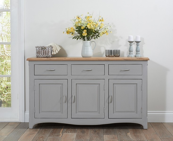 Mark Harris Sienna Oak and Grey Sideboard - Medium 3 Doors 3 Drawers