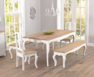 Mark Harris Sienna Shabby Chic 175cm Dining Set with 2 Dining Chairs and 2 Benches