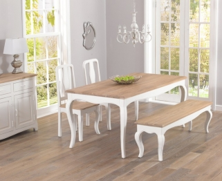 Mark Harris Sienna Shabby Chic 175cm Dining Table with 2 Chairs and Bench