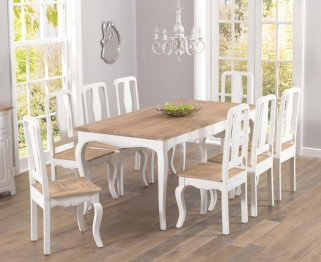 Mark Harris Sienna Shabby Chic 175cm Dining Table with 8 Chairs