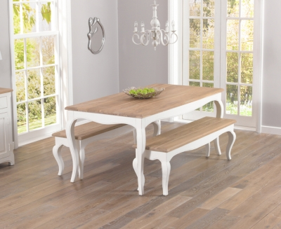 Mark Harris Sienna Shabby Chic Dining Set - 175cm with 2 Benches