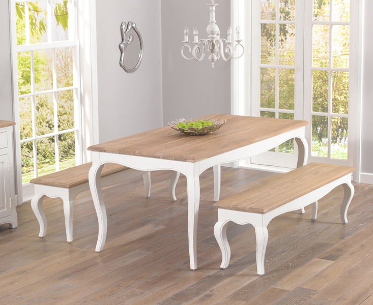 Mark Harris Sienna Shabby Chic 175cm Dining Table with 2 Benches