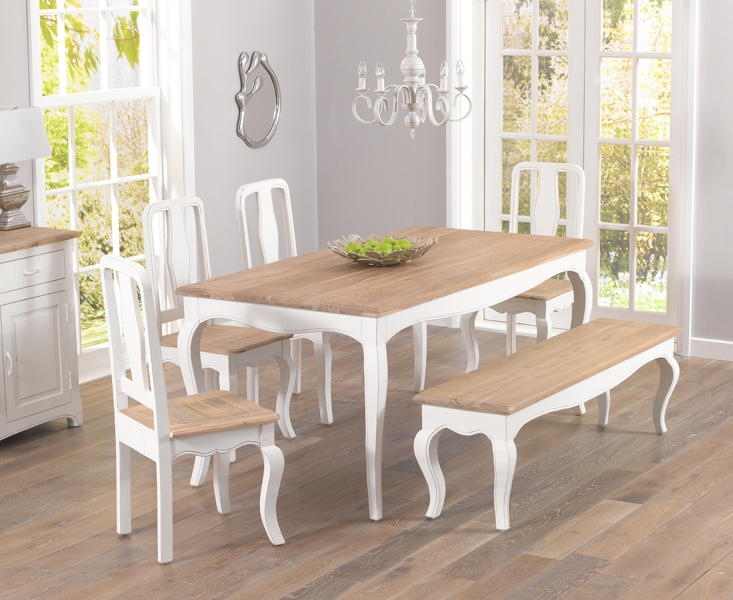 Mark Harris Sienna Shabby Chic 175cm Dining Set with 4 Dining Chairs and Bench