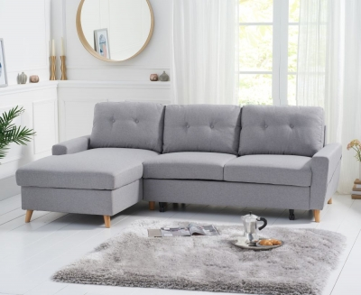 Mark Harris Carlotta Grey Linen Fabric Left Facing Corner Chaise Sofa