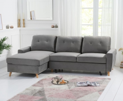 Mark Harris Carlotta Grey Velvet Left Facing Corner Chaise Sofa