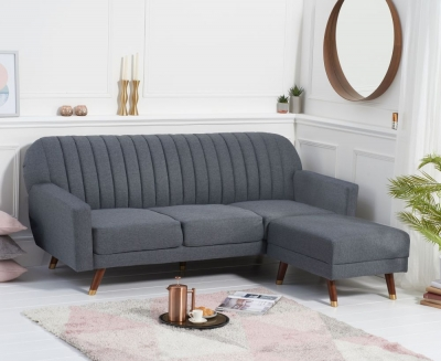 Mark Harris Leslie Grey Linen Fabric Sofa Bed