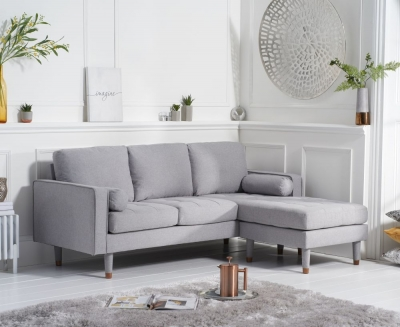 Mark Harris Liam Grey Linen Fabric 3 Seater Reversible Chaise Sofa