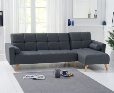 Mark Harris Abigail Grey Linen Fabric Right Hand Facing Corner Chaise Sofa Bed