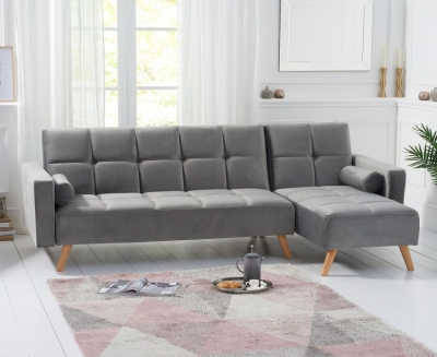 Mark Harris Abigail Grey Velvet Right Hand Facing Corner Chaise Sofa Bed
