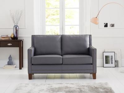 Mark Harris Arundel Grey Leather 2 Seater Sofa