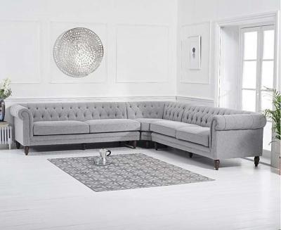 Mark Harris Lauren Grey Linen Fabric 2 Corner Sofa