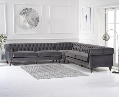 Mark Harris Lauren Grey Velvet 2 Corner Sofa