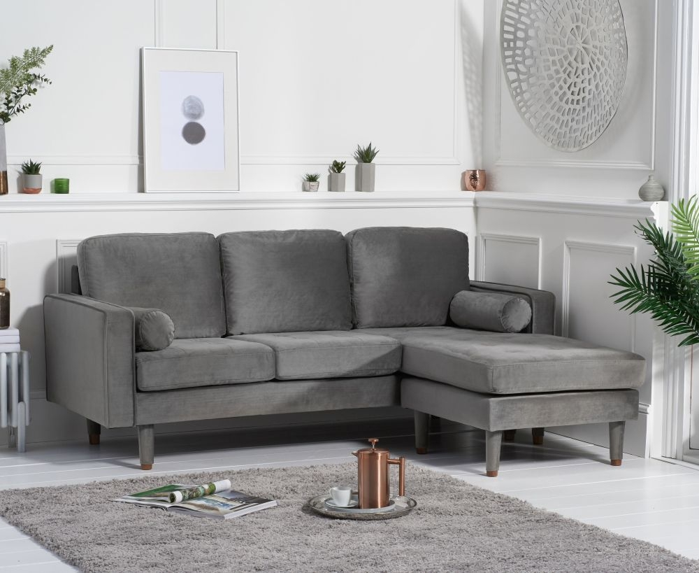 Mark Harris Liam Grey Velvet 3 Seater Reversible Chaise Sofa