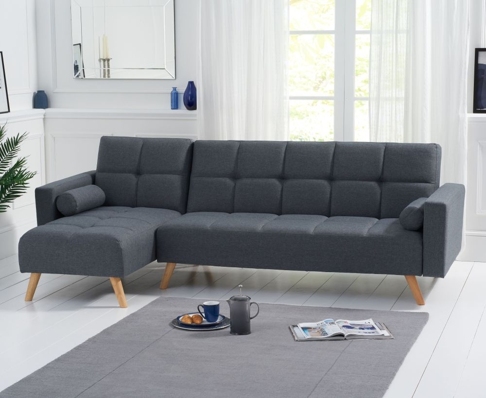 Mark Harris Abigail Grey Linen Fabric Left Hand Facing Corner Chaise Sofa Bed