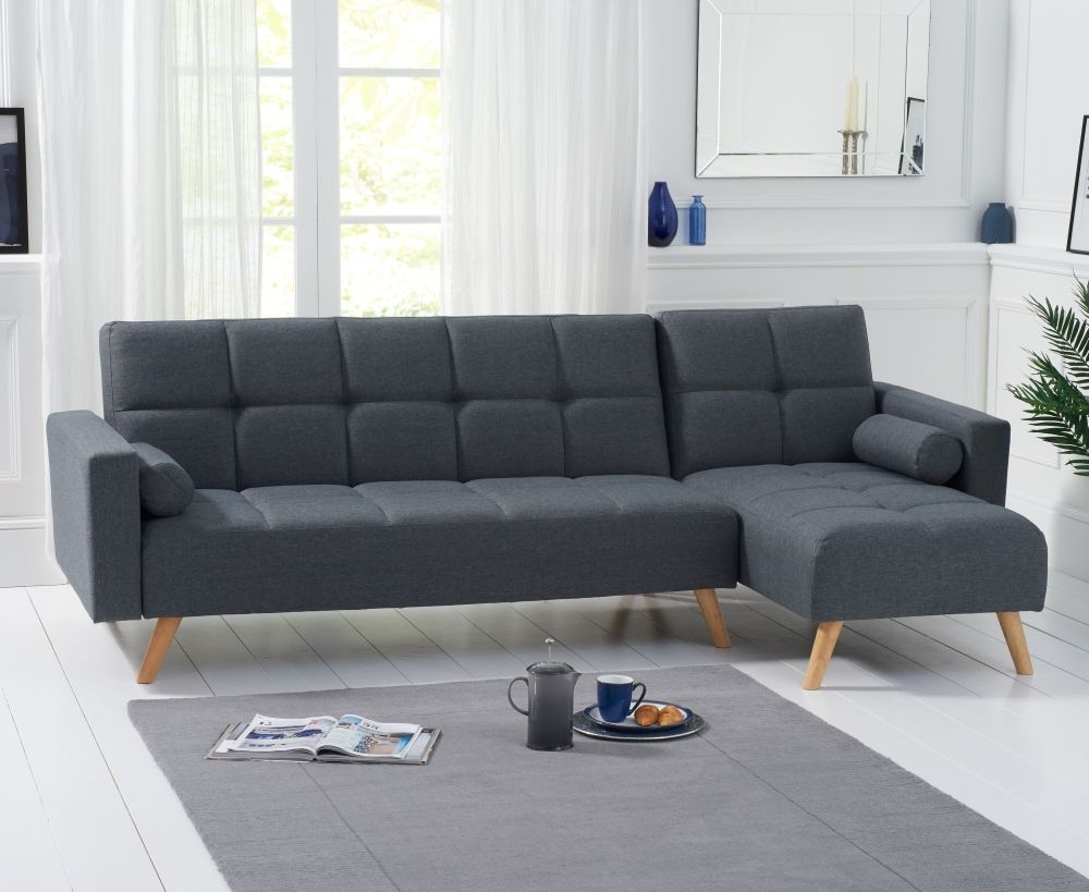 Mark Harris Abigail Grey Linen Fabric Right Hand Facing Corner Chaise Sofa Bed