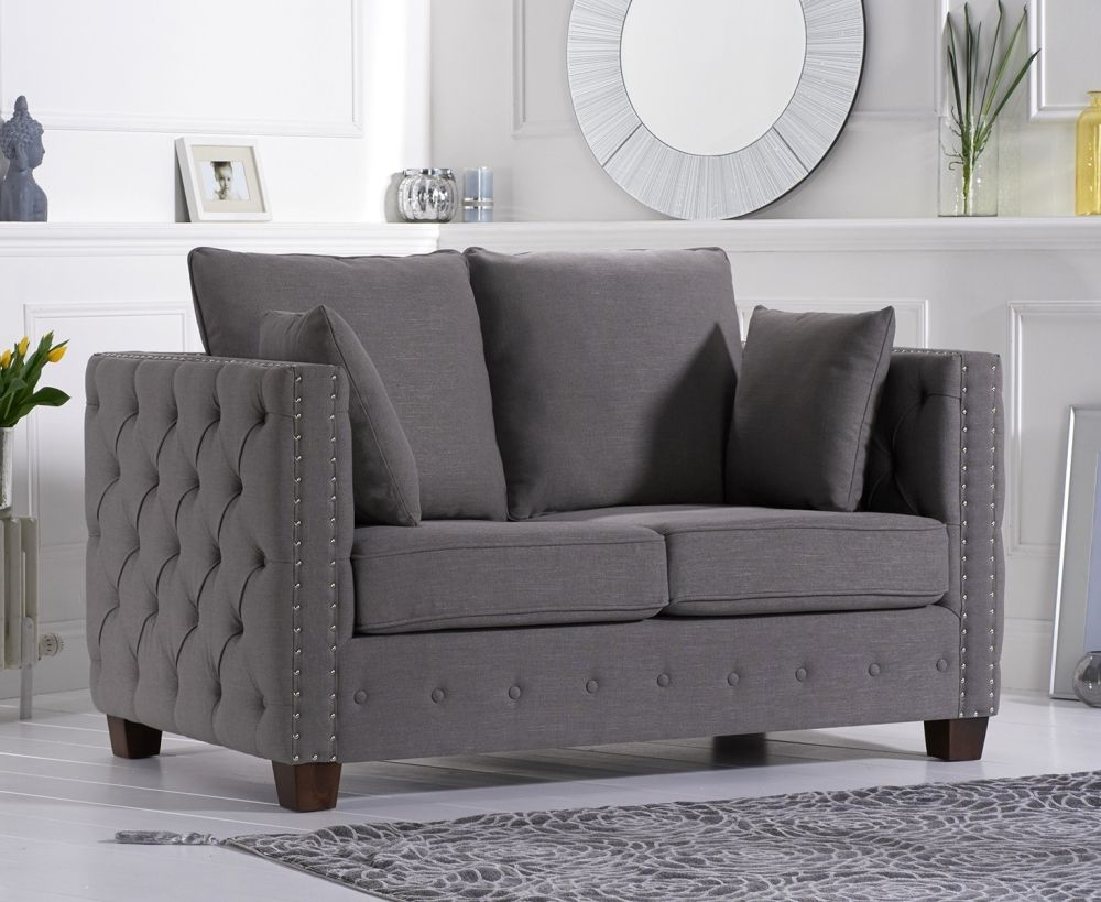 Mark Harris Ali Grey Linen Fabric 2 Seater Sofa