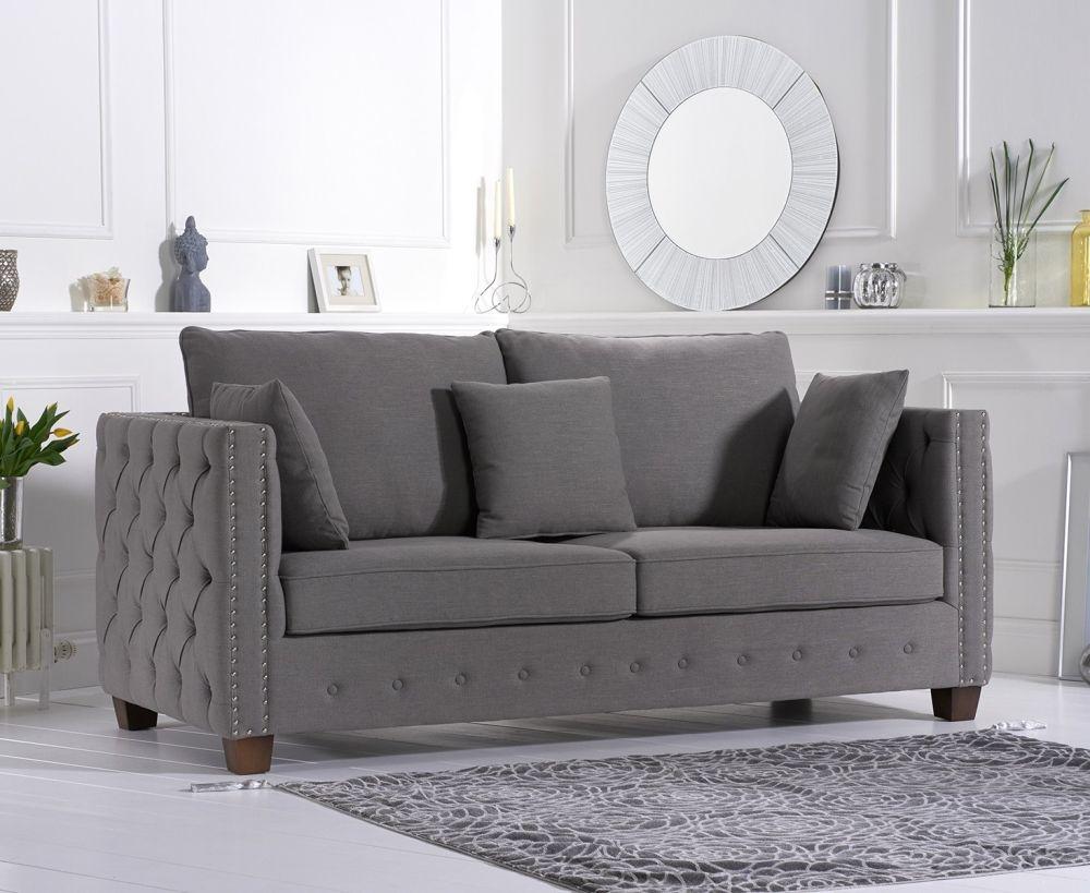 Mark Harris Ali Grey Linen Fabric 3 Seater Sofa