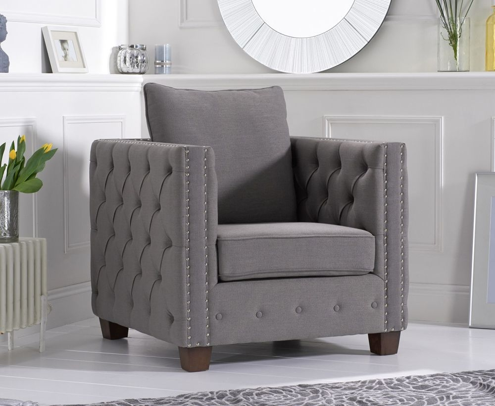 Mark Harris Ali Grey Linen Fabric Armchair