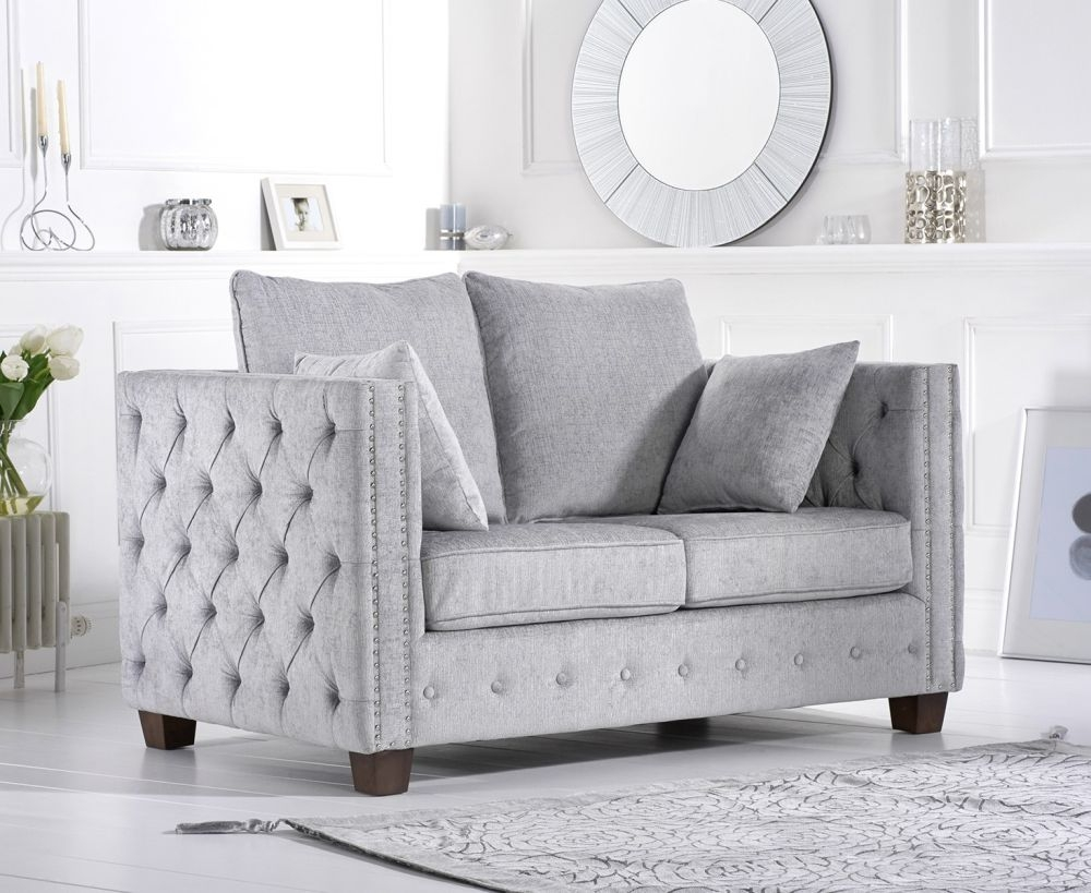 Mark Harris Ali Grey Plush Fabric 2 Seater Sofa