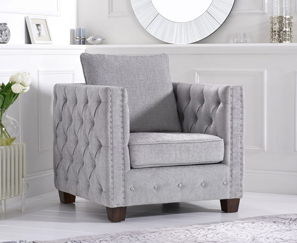 Mark Harris Ali Grey Plush Fabric Armchair