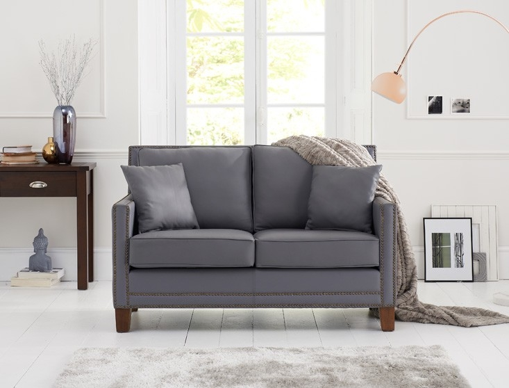 Mark Harris Arundel 2 Seater Grey Leather Sofa
