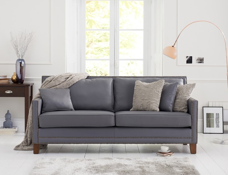 Mark Harris Arundel 3 Seater Grey Leather Sofa