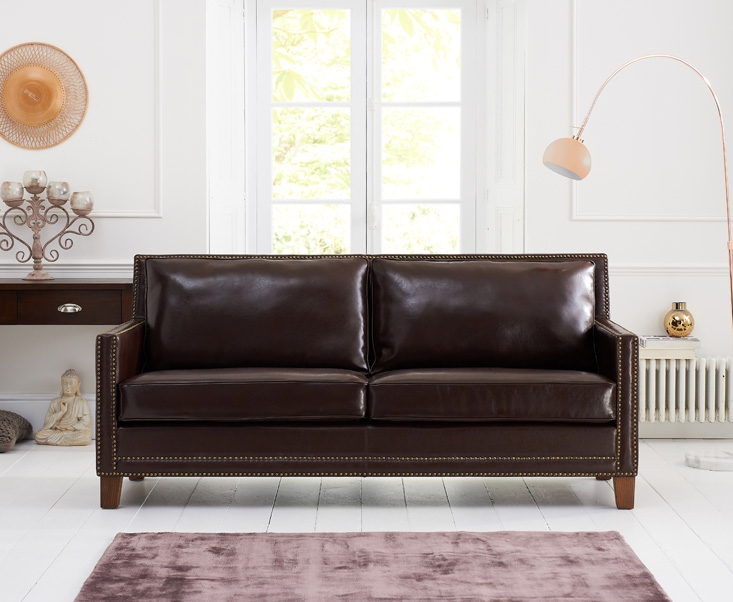 Mark Harris Arundel Brown Leather 3 Seater Sofa