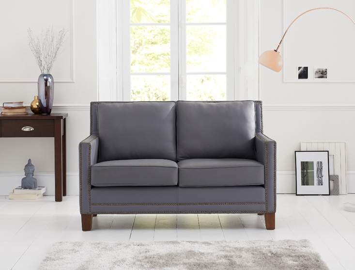 Mark Harris Arundel Grey Leather 2 Seater Sofa