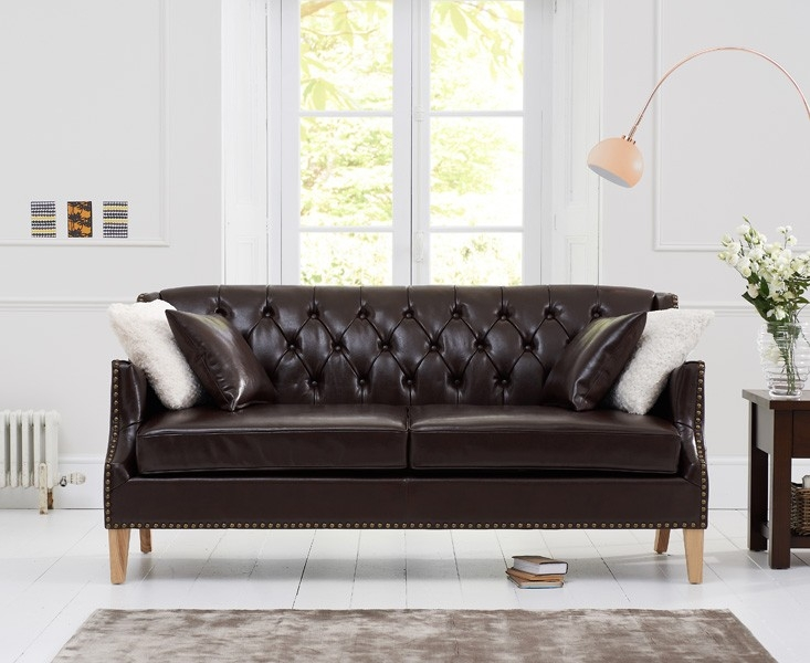 Mark Harris Carmen 3 Seater Brown Leather Sofa