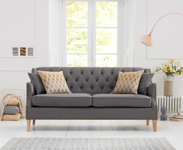 Mark Harris Carmen 3 Seater Grey Fabric Sofa