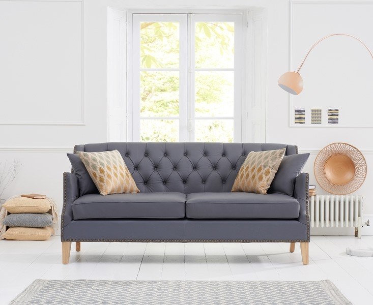 Mark Harris Carmen 3 Seater Grey Leather Sofa
