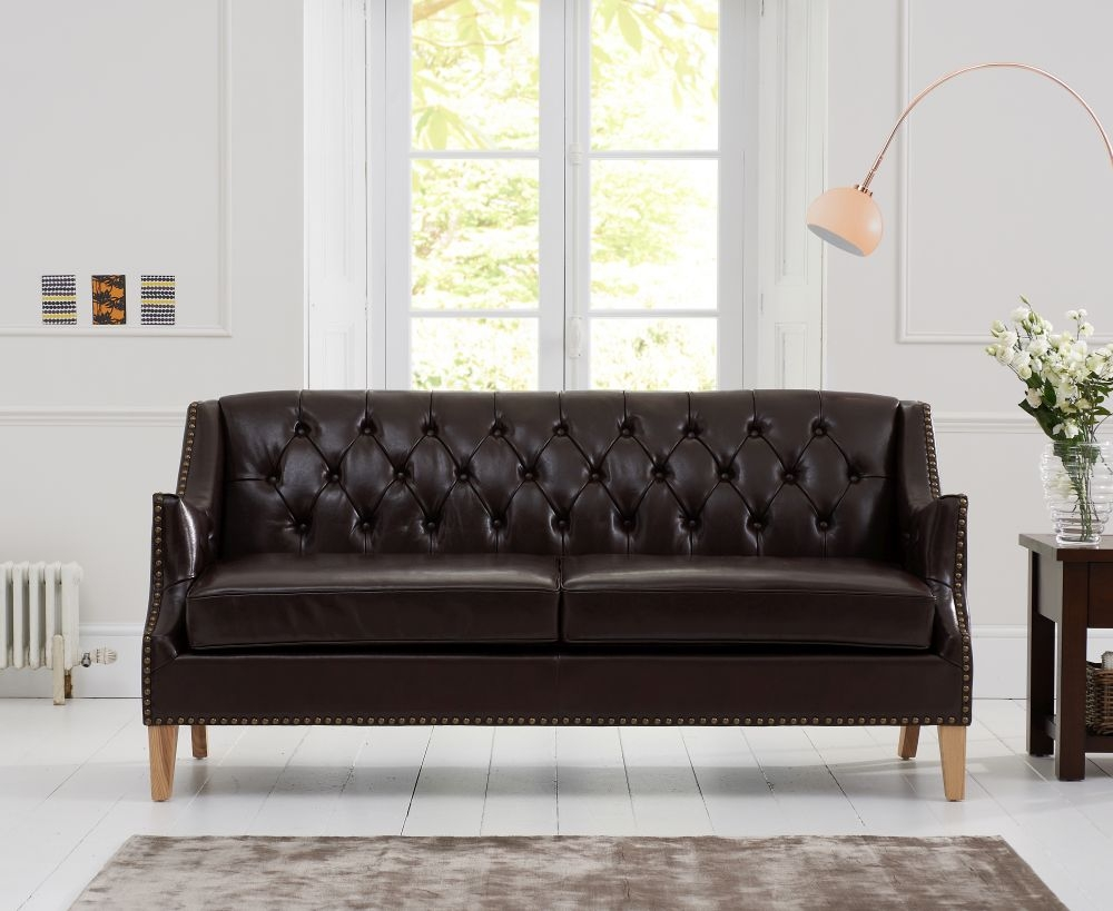 Mark Harris Carmen Brown Leather 3 Seater Sofa with Natural Ash Wood Legs