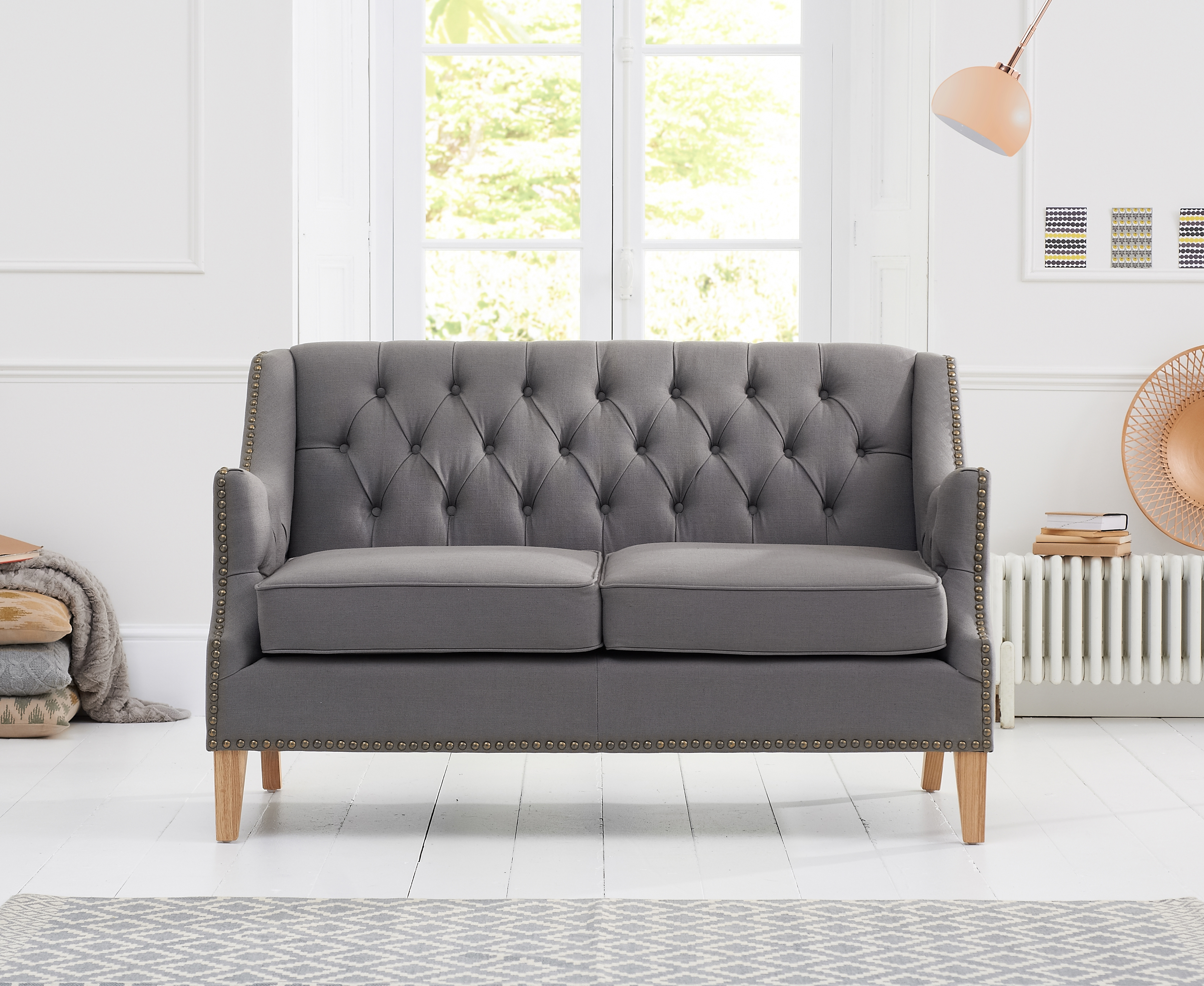 Mark Harris Carmen Grey Fabric 2 Seater Sofa