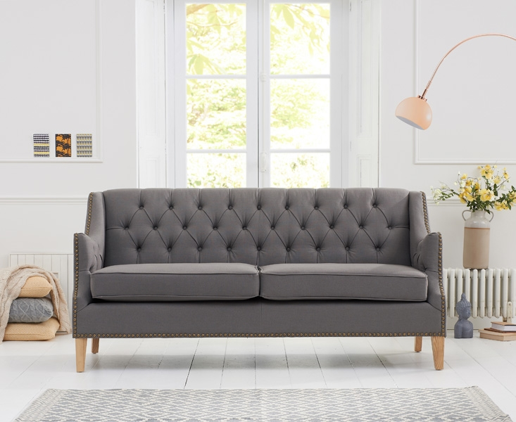 Mark Harris Carmen Grey Fabric 3 Seater Sofa