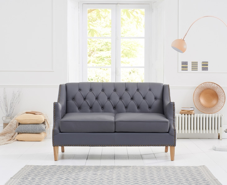 Mark Harris Carmen Grey Leather 2 Seater Sofa