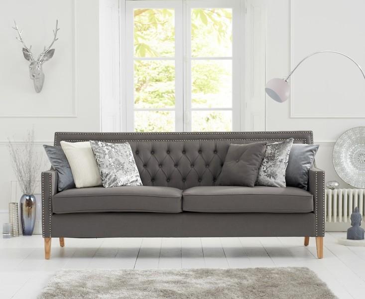 Mark Harris Casa Bella 3 Seater Grey Fabric Sofa