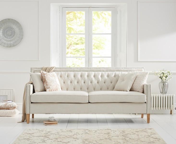 Mark Harris Casa Bella 3 Seater Ivory Fabric Sofa