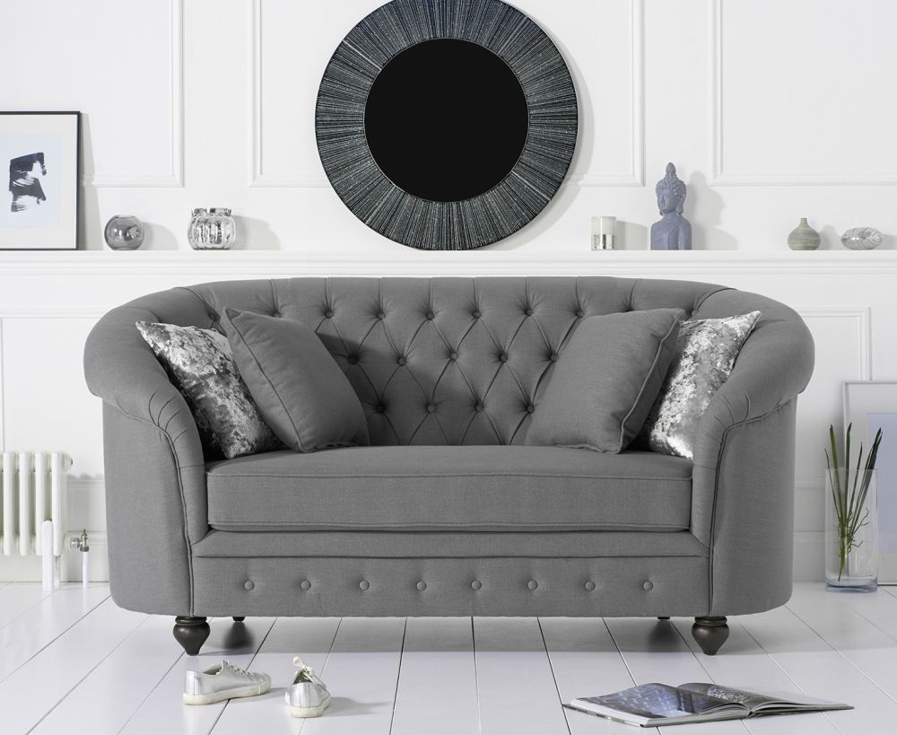 Mark Harris Casey Chesterfield Grey Fabric 2 Seater Sofa