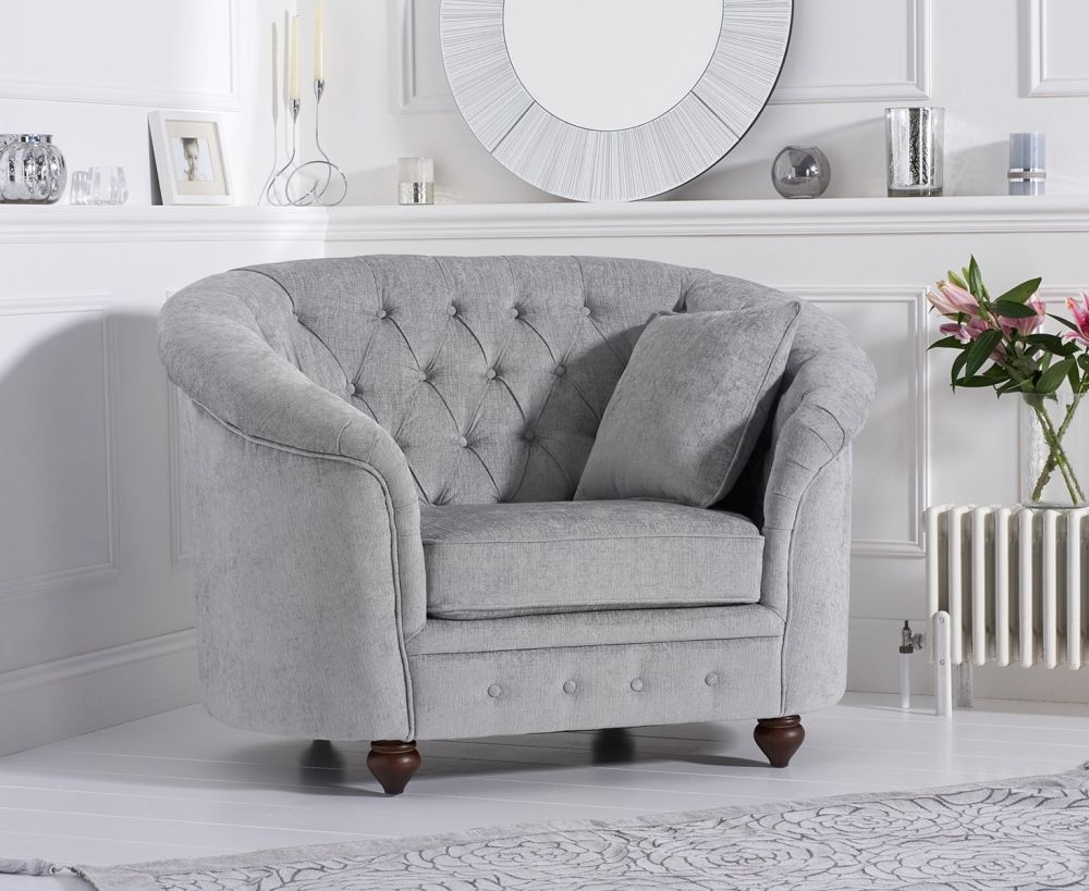 Mark Harris Casey Chesterfield Grey Plush Fabric Armchair