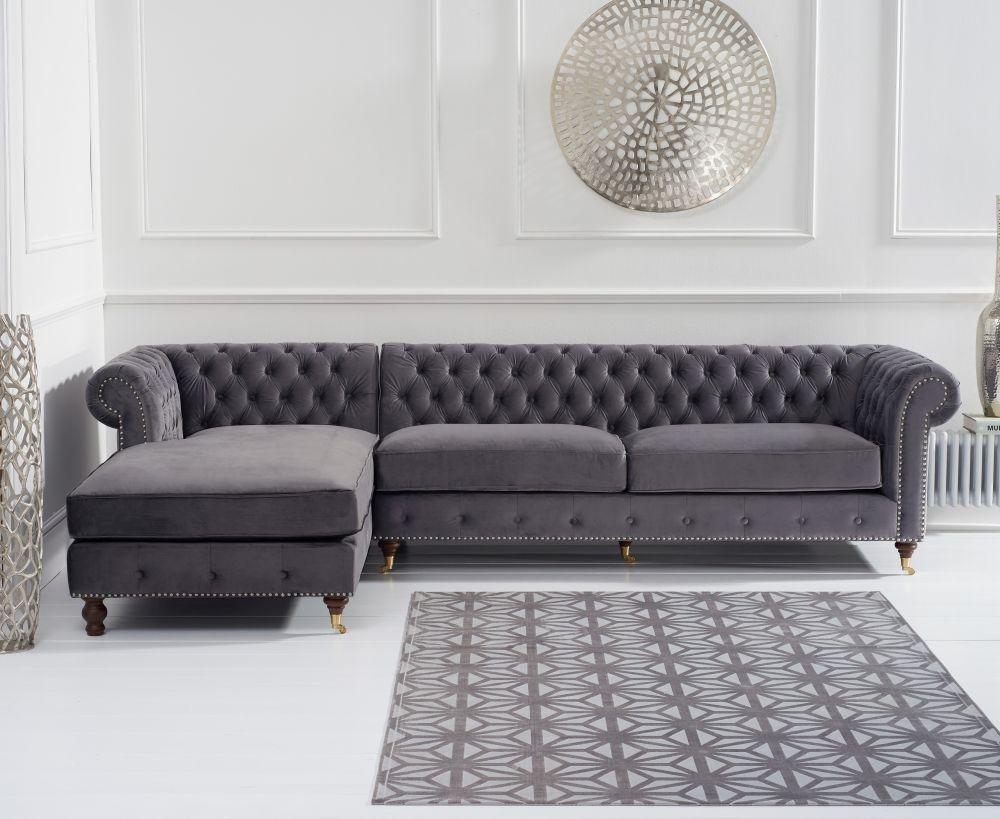 Mark Harris Fiona Chesterfield Grey Velvet Corner Chaise Sofa - Left Hand Facing