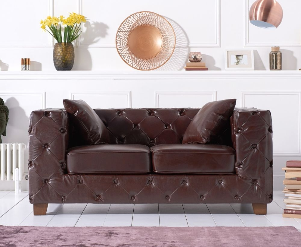 Mark Harris Harrison Chesterfield Brown Leather 2 Seater Sofa