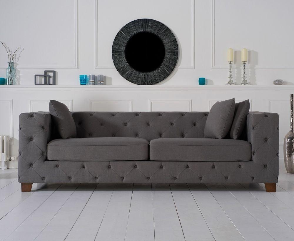 Mark Harris Harrison Chesterfield Grey Fabric 3 Seater Sofa