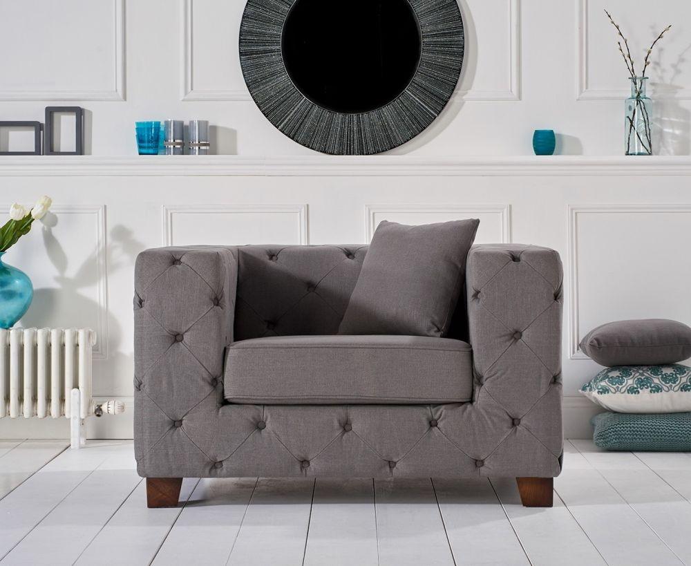 Mark Harris Harrison Chesterfield Grey Fabric Armchair