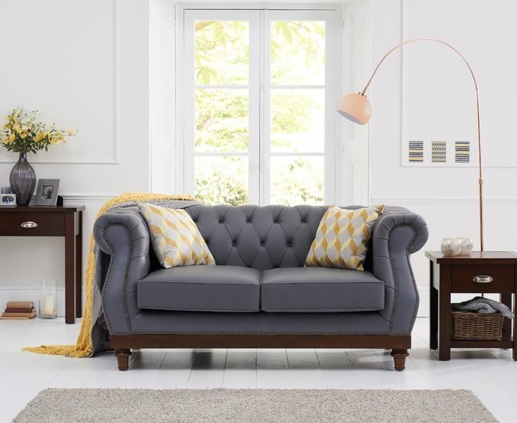 Buy Mark Harris Highgrove 2 Seater Grey Leather Sofa Online CFS UK