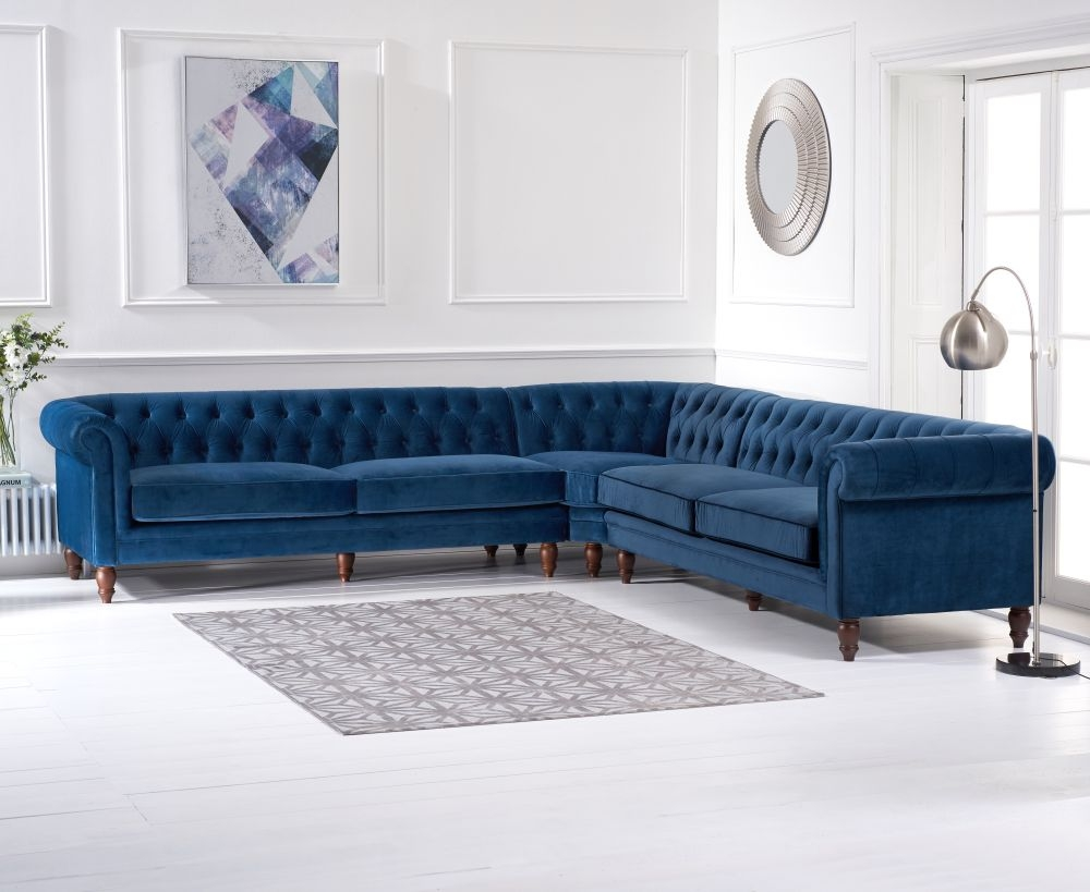 Mark Harris Lauren Blue Velvet 2 Corner Sofa